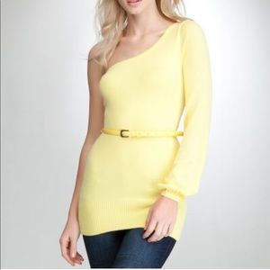 Bebe one-sleeve belted sweater tunic